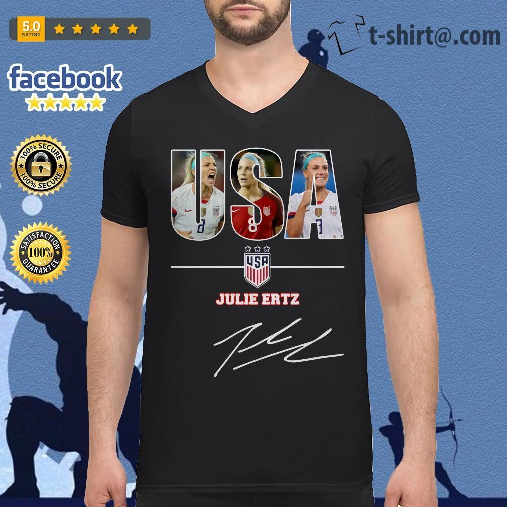 USA women's soccer team Julie Ertz signature V-neck T-shirt