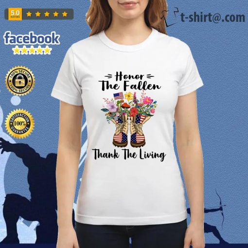 Veteran boots flower honor the fallen thank the living 4th of July independence day Ladies Tee