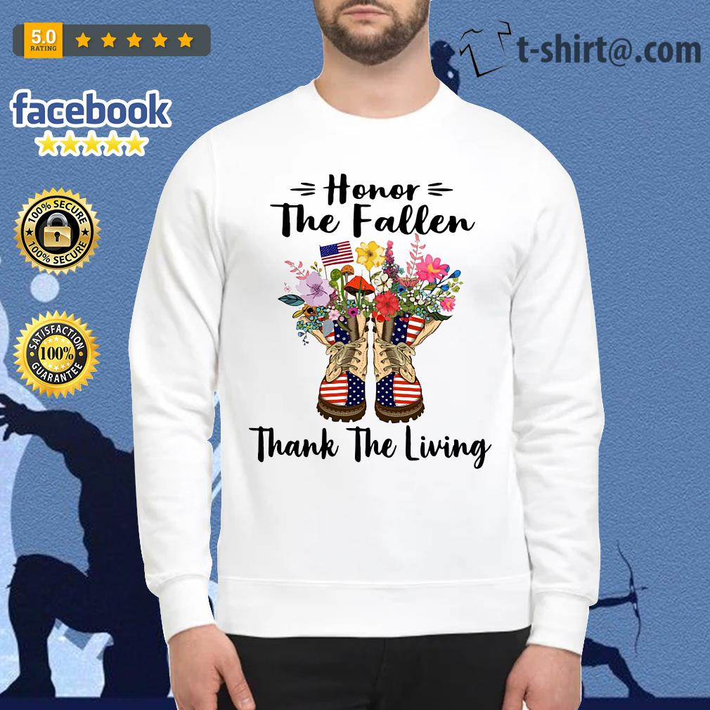 Veteran boots flower honor the fallen thank the living 4th of July independence day Sweater