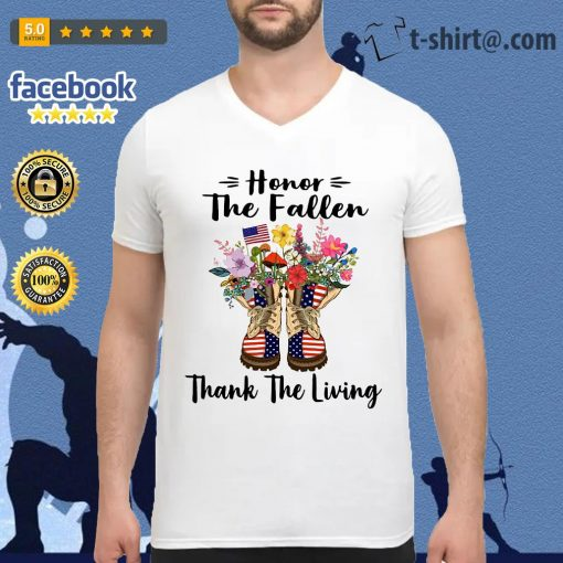 Veteran boots flower honor the fallen thank the living 4th of July independence day V-neck T-shirt