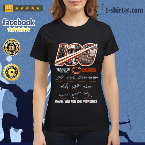 100 years of Chicago Bears 1919-2019 thank you for the memories Ladies Tee
