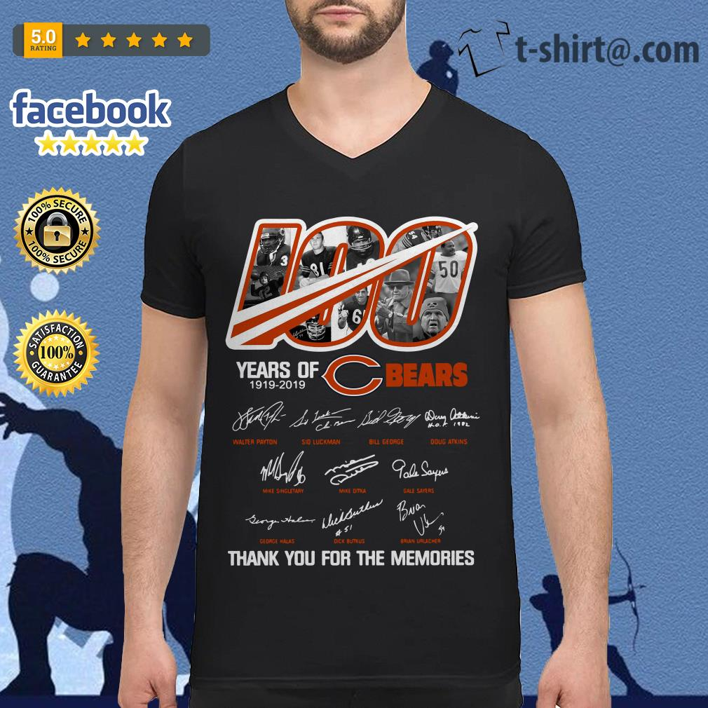 100 years of Chicago Bears 1919-2019 thank you for the memories V-neck T-shirt