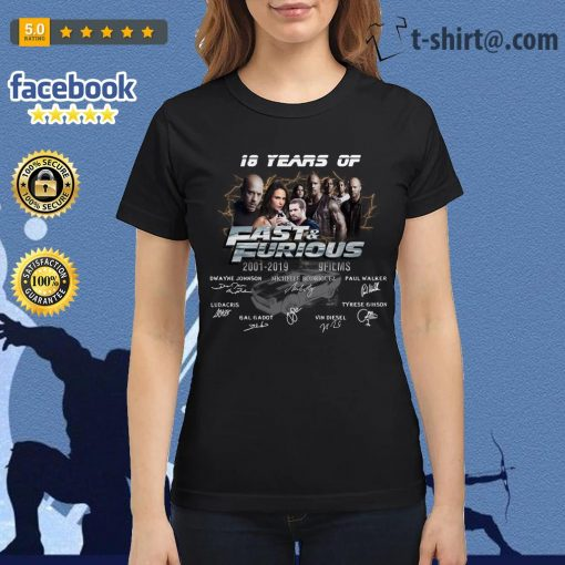 18 years of Fast and Furious 2001-2019 9 films signature Ladies Tee