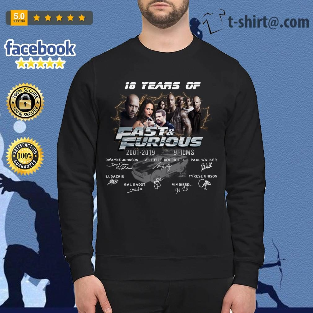 18 years of Fast and Furious 2001-2019 9 films signature Sweater