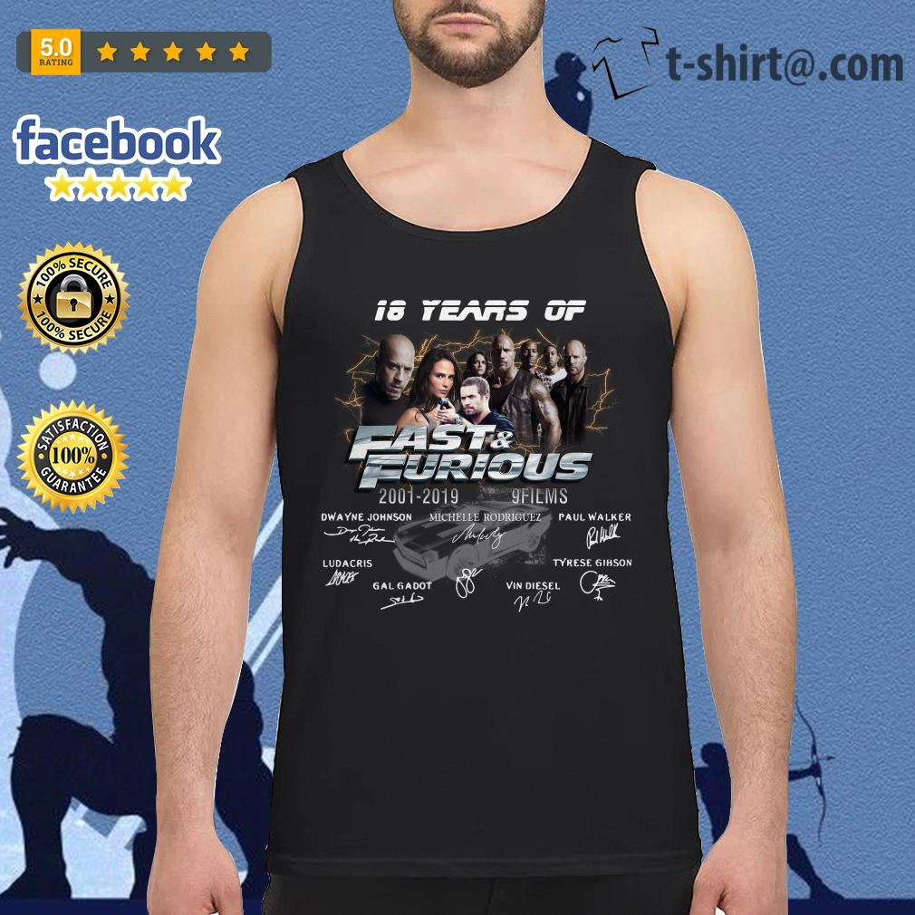 18 years of Fast and Furious 2001-2019 9 films signature Tank top