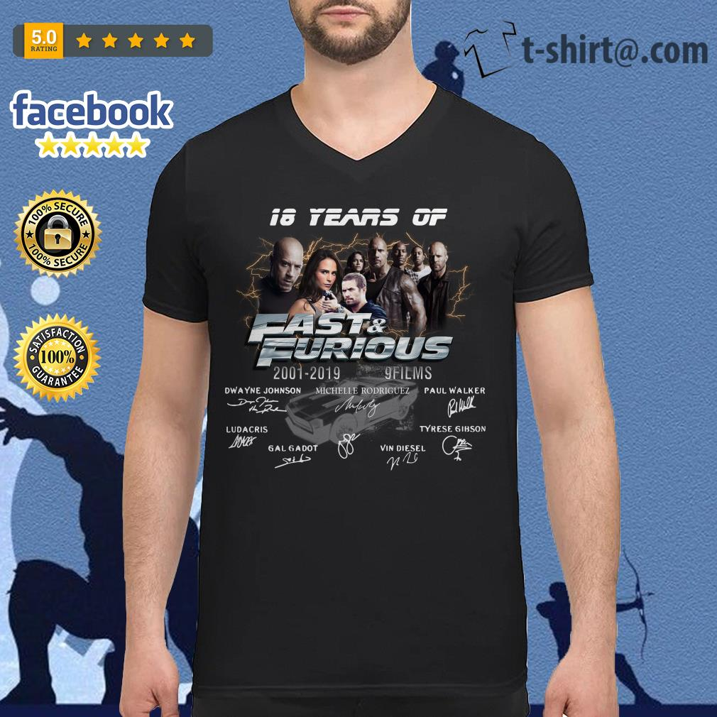 18 years of Fast and Furious 2001-2019 9 films signature V-neck T-shirt