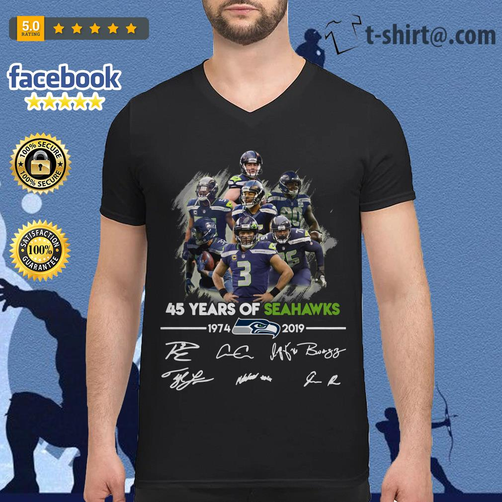 45 years of Seahawks 1974-2019 signature V-neck T-shirt