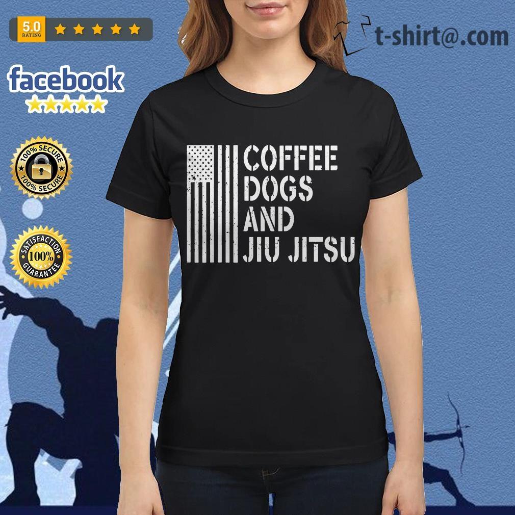 American flag coffee dogs and jiu jitsu Ladies Tee