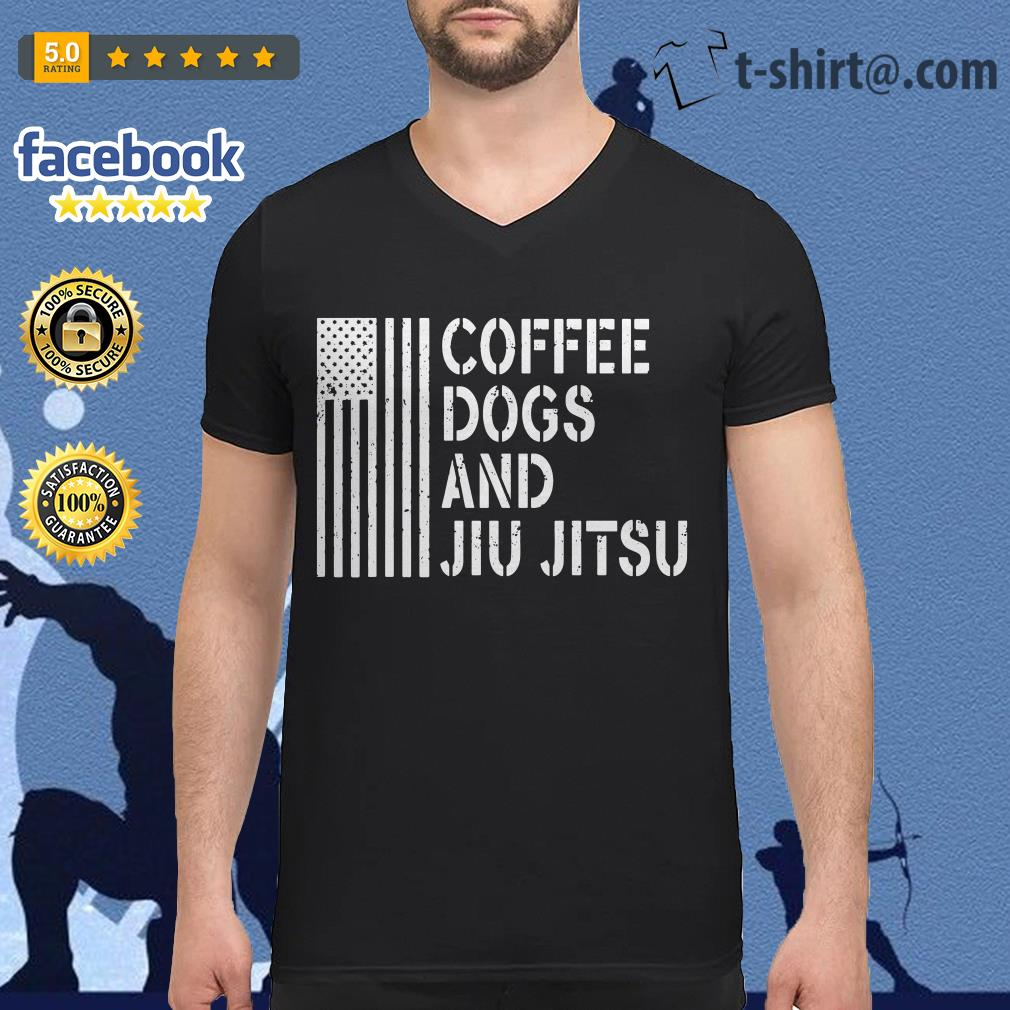 American flag coffee dogs and jiu jitsu V-neck T-shirt