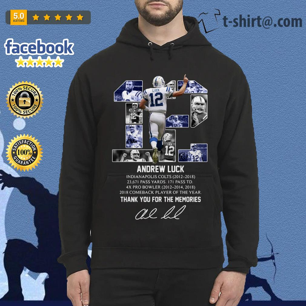 Andrew Luck 12 thank you for the memories signature Hoodie