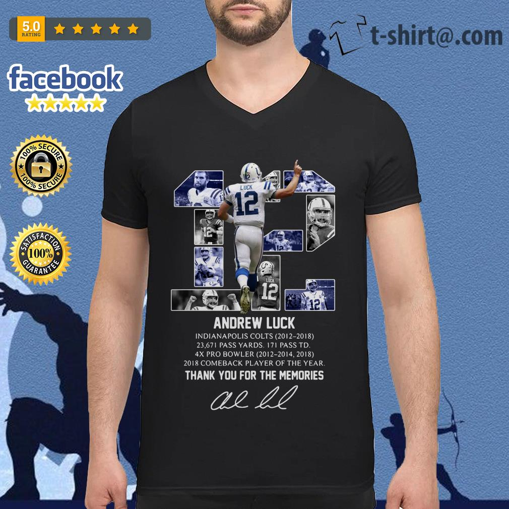 Andrew Luck 12 thank you for the memories signature V-neck T-shirt