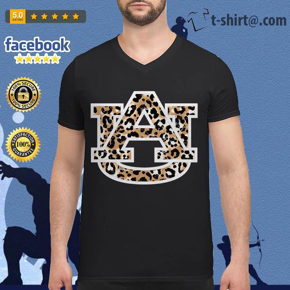 Auburn Tigers Leopard V-neck T-shirt