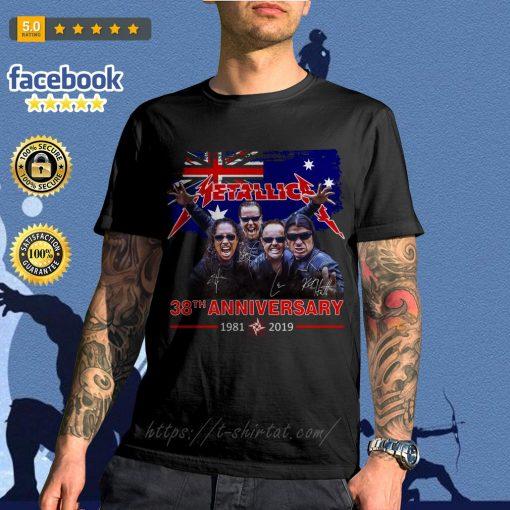 Australia flag Metallica 38th anniversary 1981-2019 signature shirt