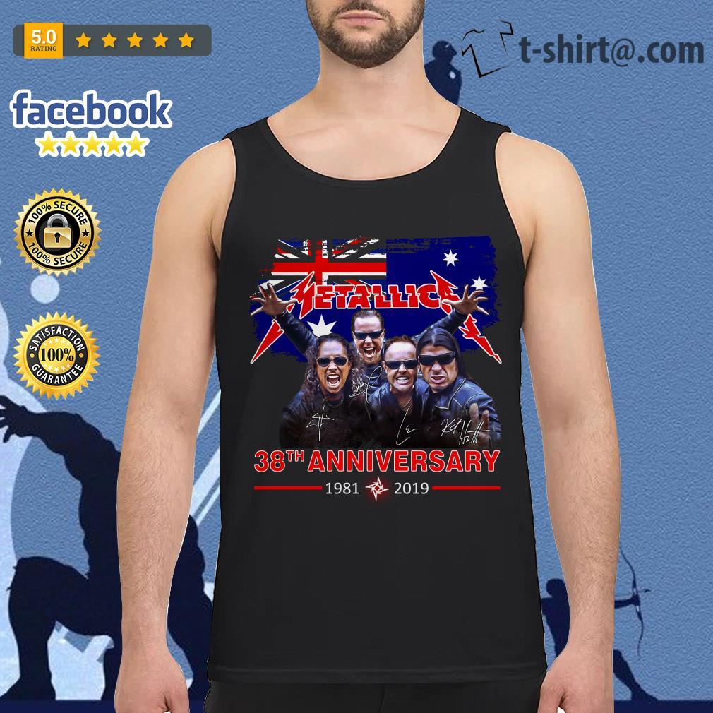 Australia flag Metallica 38th anniversary 1981-2019 signature Tank top
