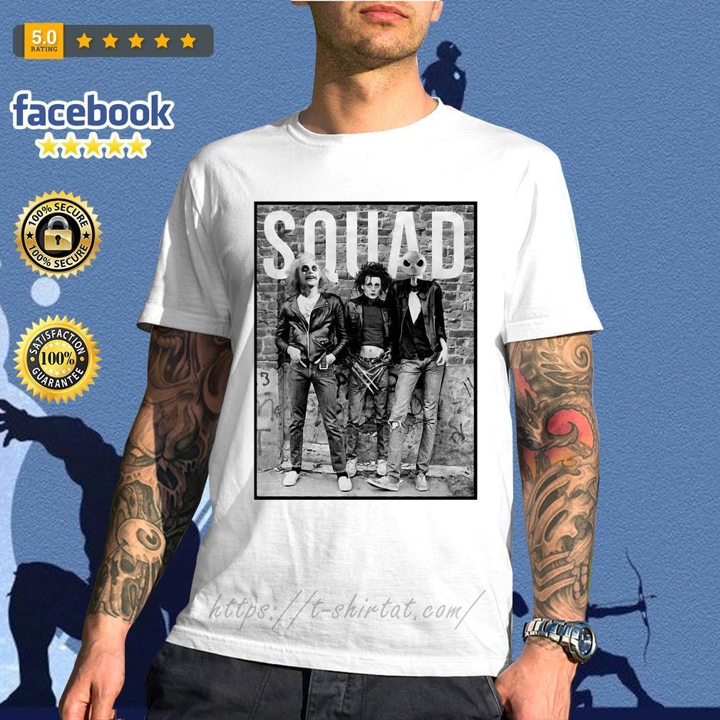 Beetlejuice Edward Scissorhands and Jack Skellington squad shirt