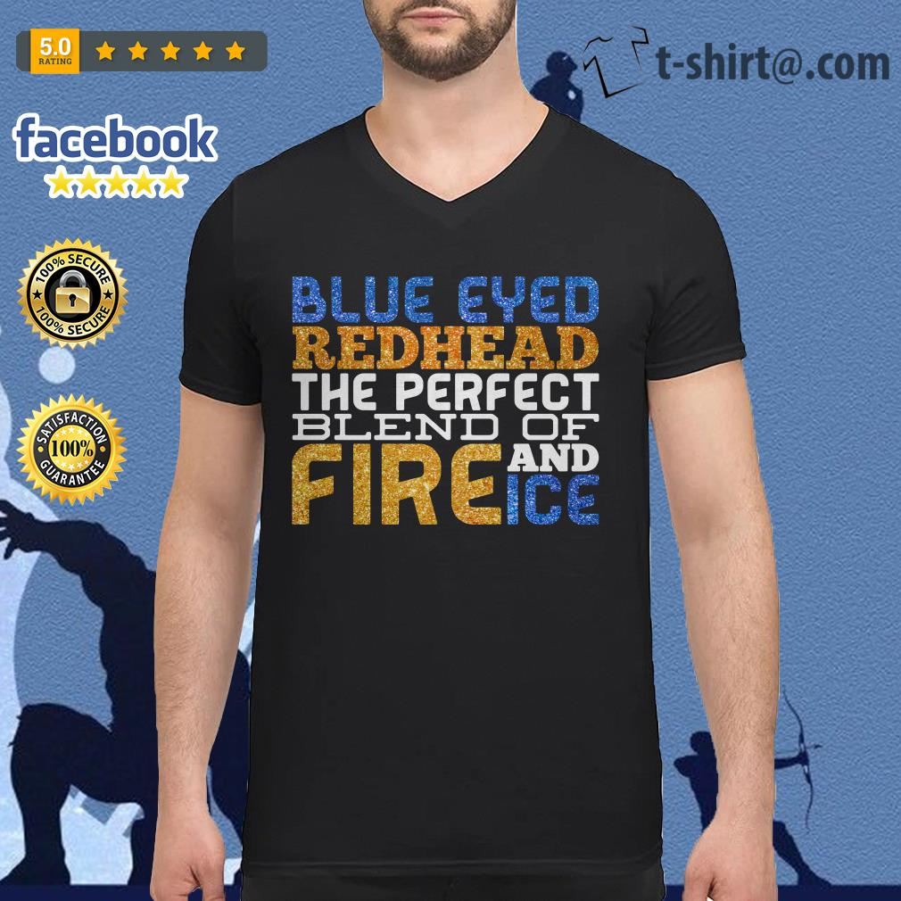 Blue eyed red head the perfect blend of and fire ice V-neck T-shirt