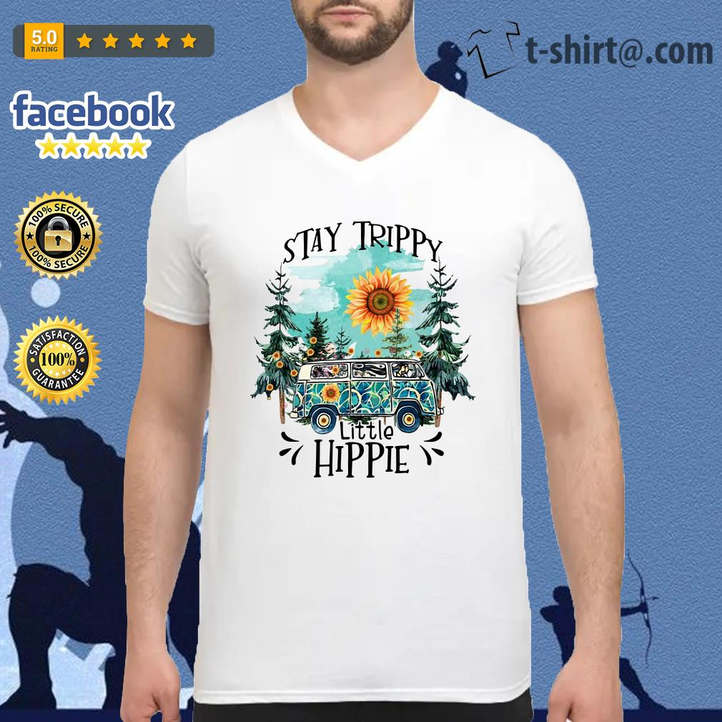 Camping Stay trippy sunflower little hippie V-neck T-shirt