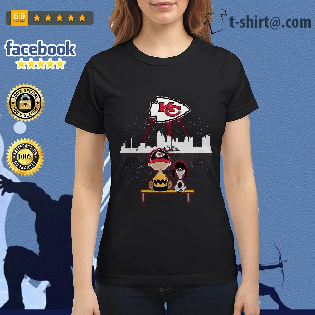 99a63b92 Charlie Brown and Snoopy dog watching Kansas City Chiefs shirt