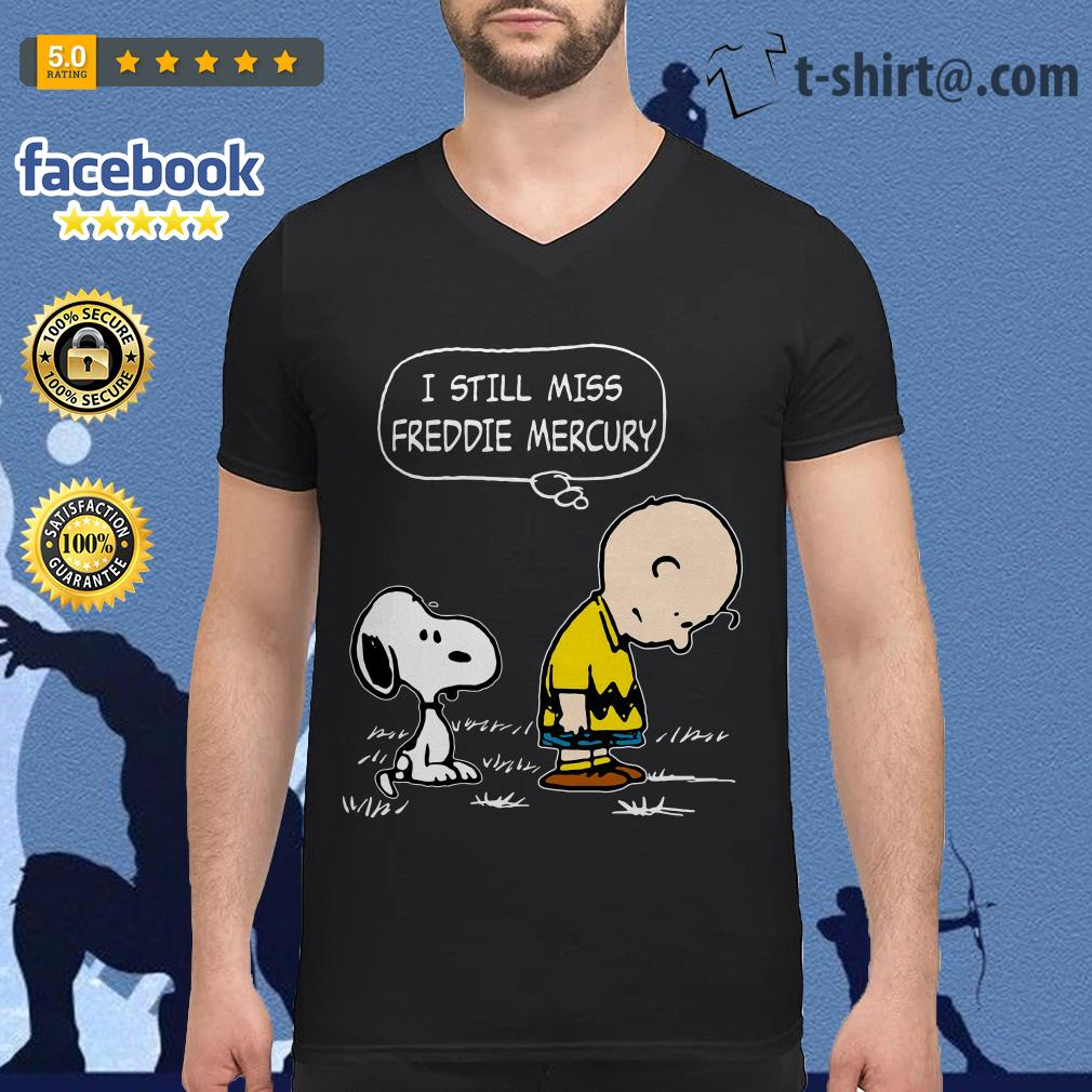 Charlie Brown and Snoopy I still miss Freddie Mercury V-neck T-shirt