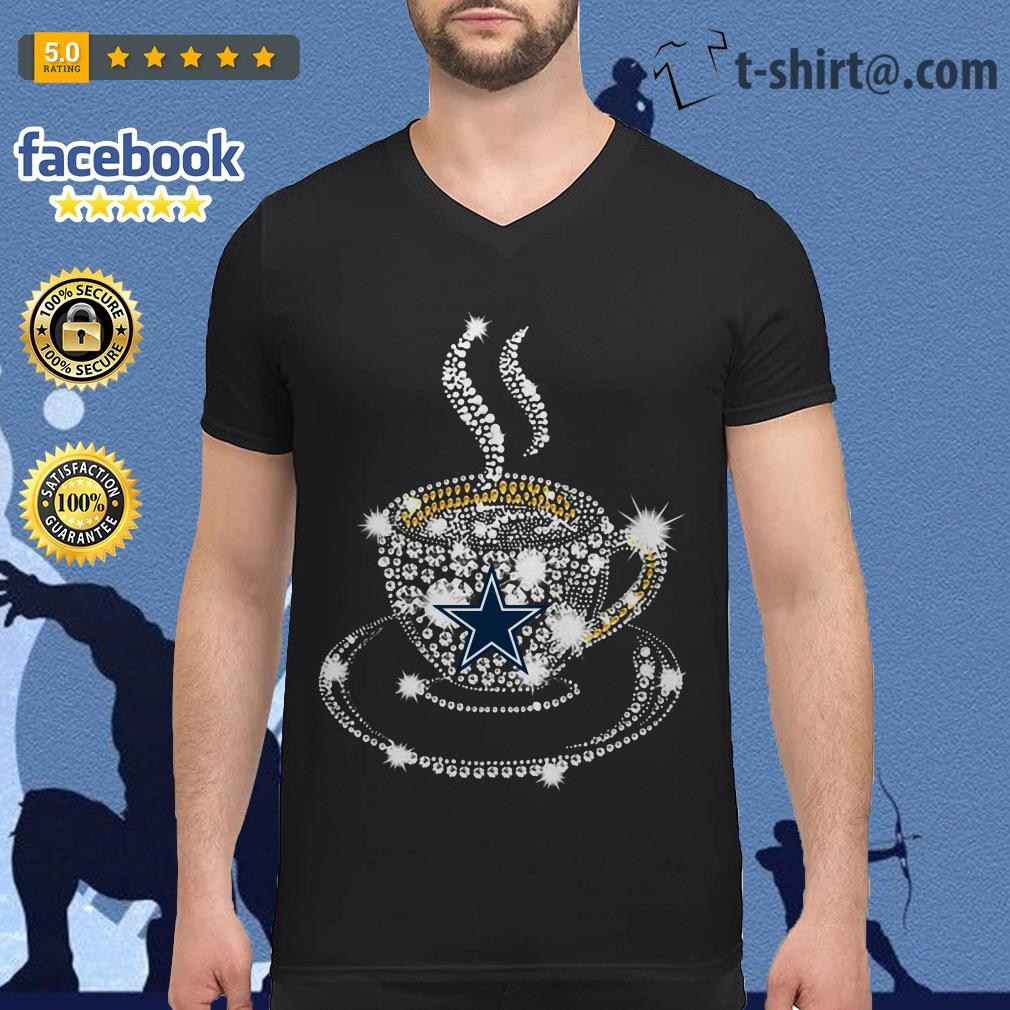 Coffee Dallas Cowboys rhinestone V-neck T-shirt