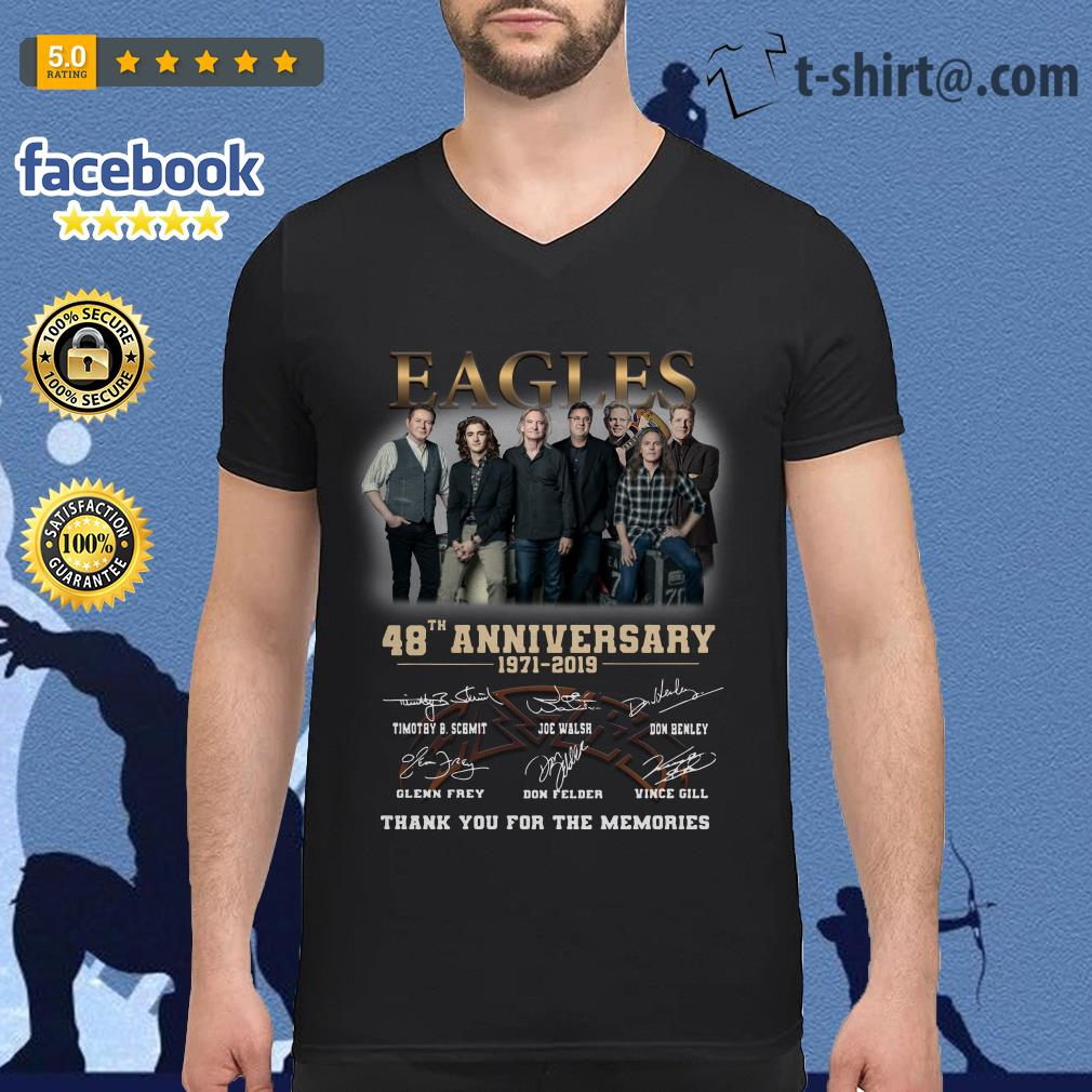 Eagles 48th anniversary 1971-2019 thank you for the memories V-neck T-shirt