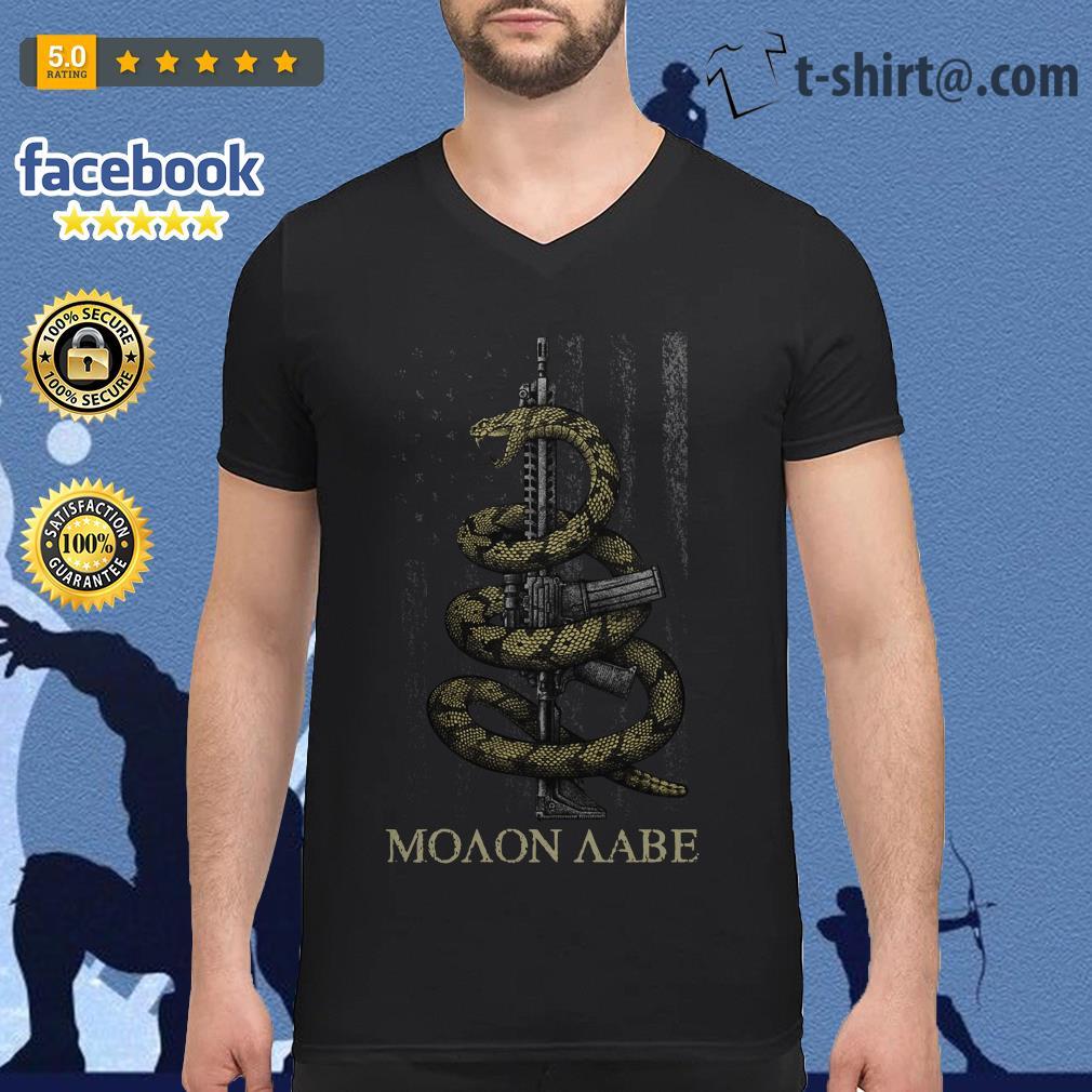Gadsden Snake Moaon Aabe American flag V-neck T-shirt