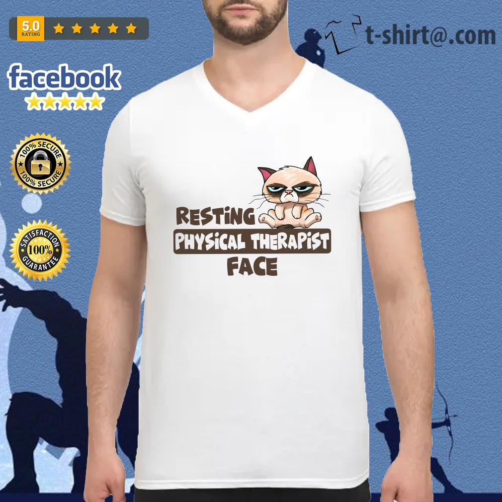 Grumpy Cat resting physical therapist face V-neck T-shirt
