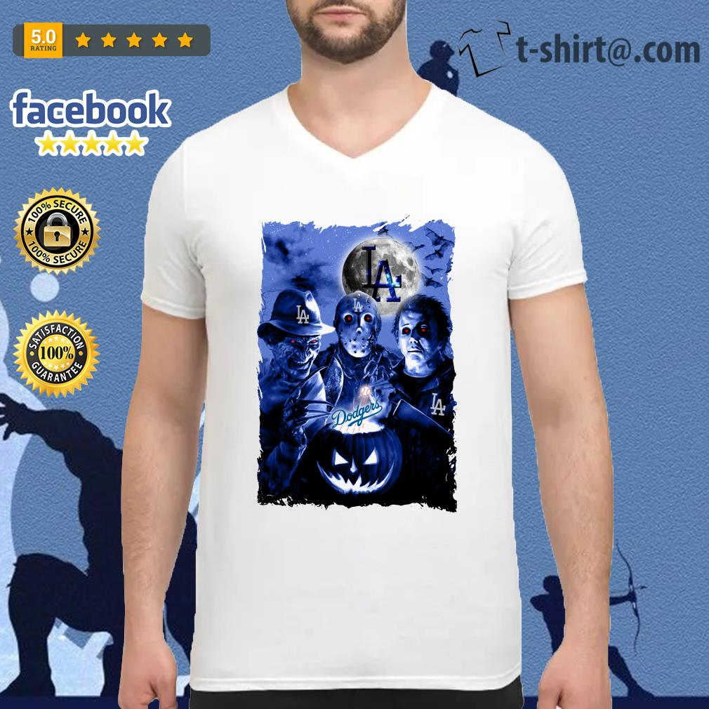 Halloween Los Angeles Dodgers horror characters V-neck T-shirt