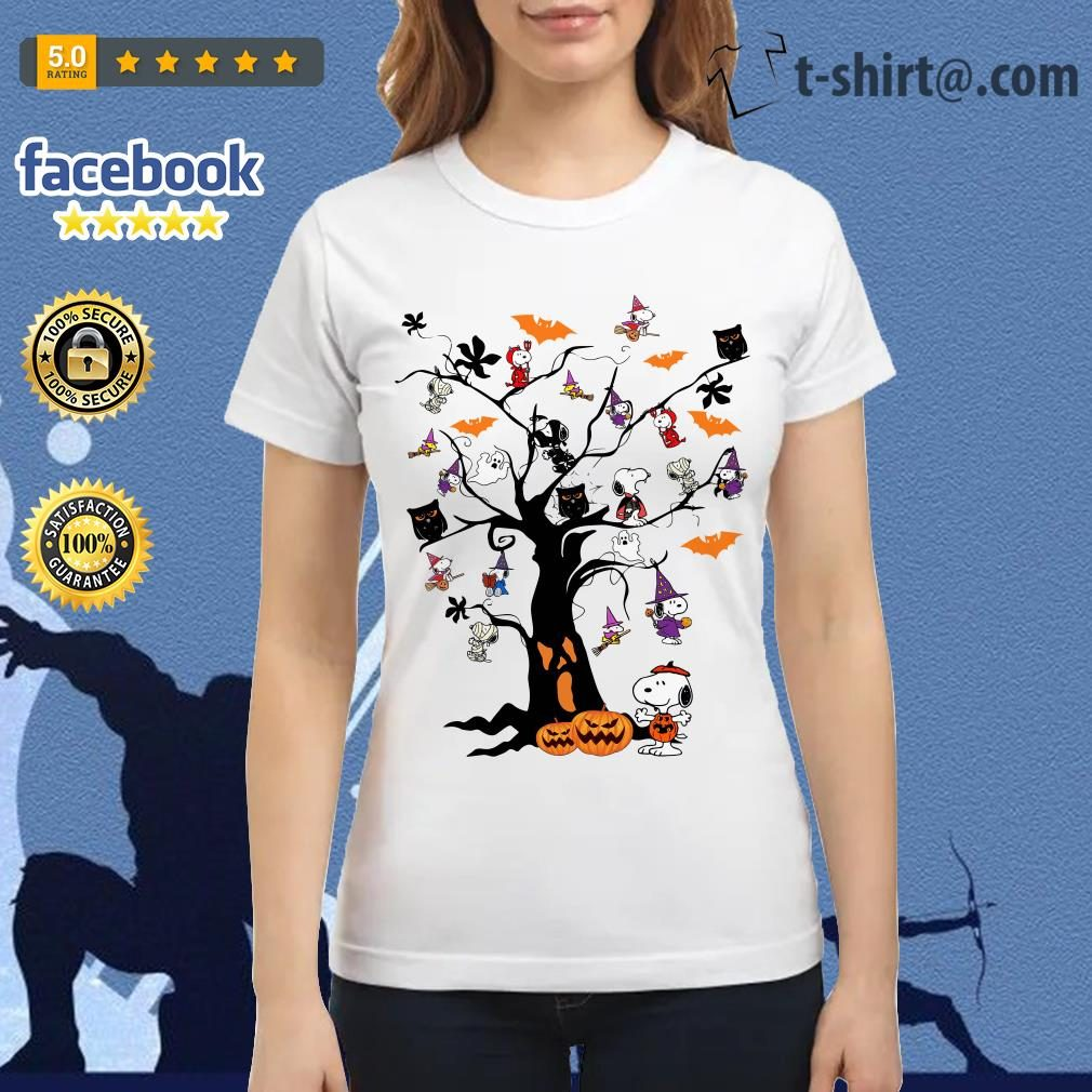 Halloween Snoopy pumpkin tree Ladies Tee