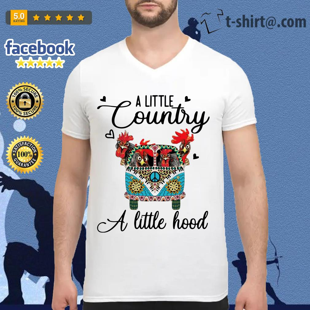 Hippie Car chickens a little country a little hood V-neck T-shirt