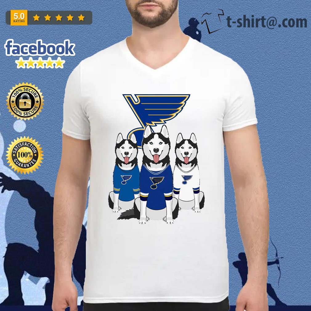 Husky dog St. Louis Blues V-neck T-shirt