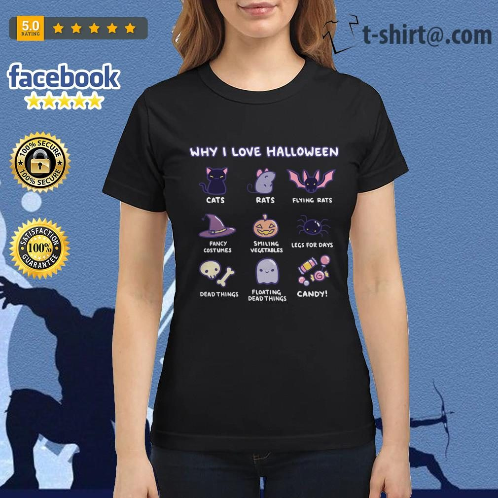 Why I love Halloween cats rats flying rats Ladies Tee