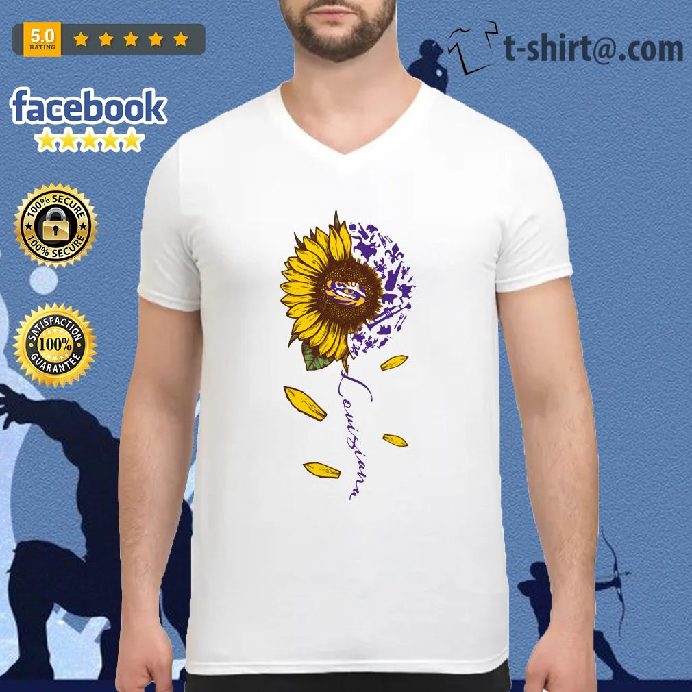 LSU Tiger sunflower Louisiana V-neck T-shirt