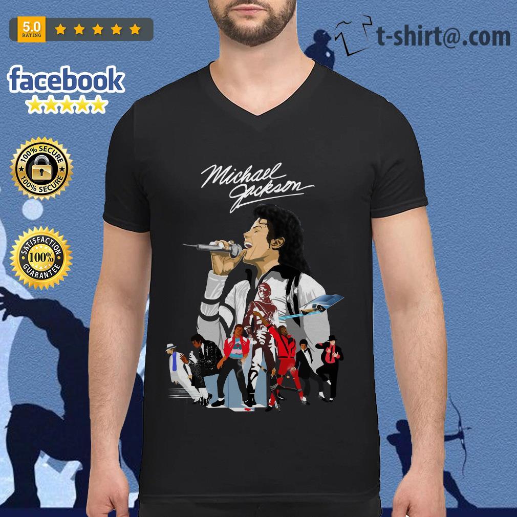 Michael Jackson signature wallpaper V-neck T-shirt