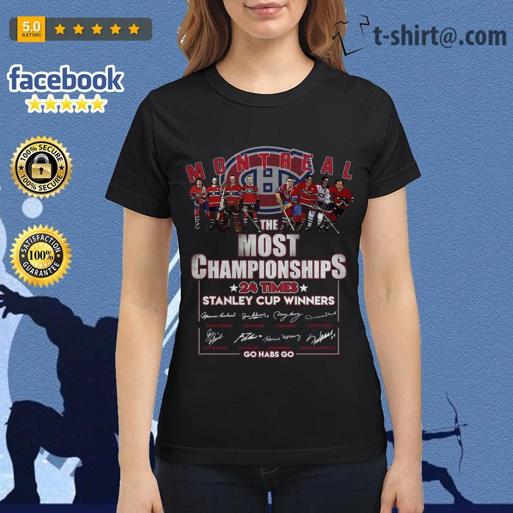 Montreal the most championships 24 times Stanley Cup Winners signature Ladies Tee