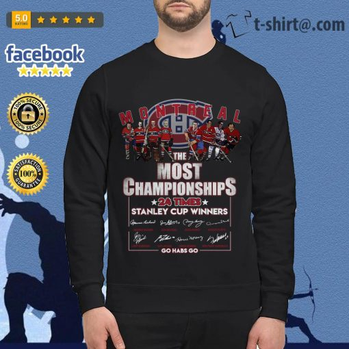 Montreal the most championships 24 times Stanley Cup Winners signature Sweater