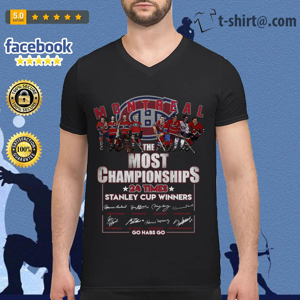 Montreal the most championships 24 times Stanley Cup Winners signature V-neck T-shirt