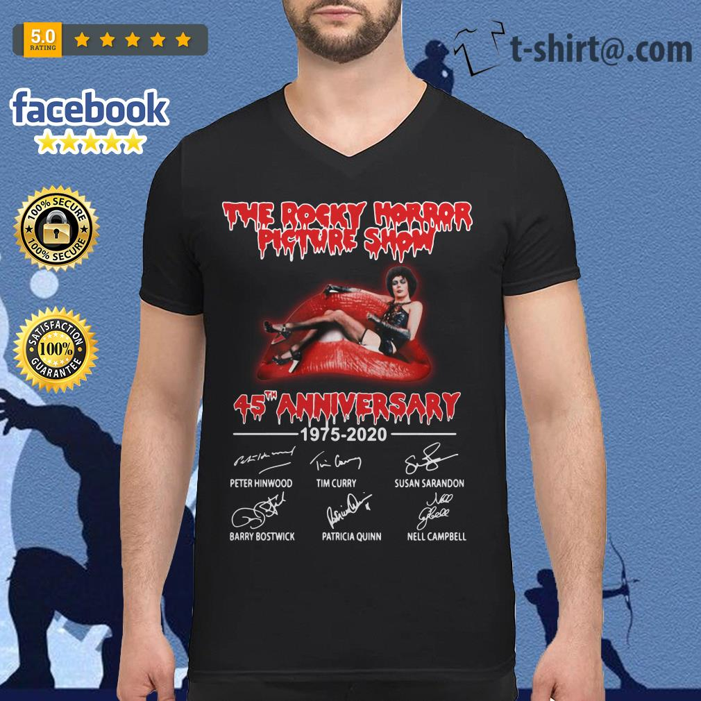 The Rocky Horror Picture Show 45th anniversary 1975-2020 signature V-neck T-shirt