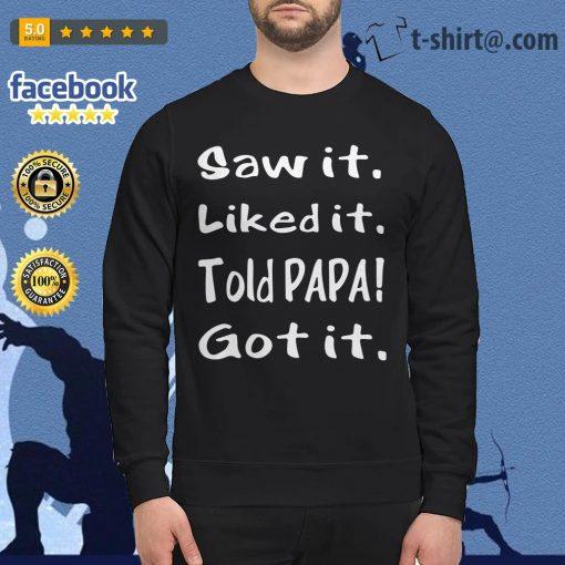 Saw it liked it told papa got it Sweater