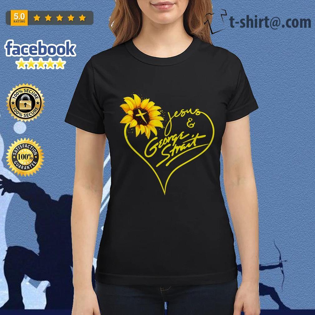 Sunflower Jesus and George Strait Ladies Tee