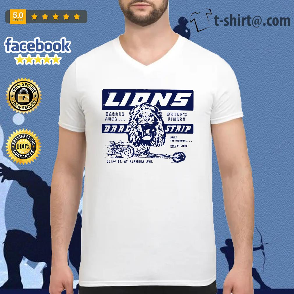 Once upon a time in Hollywood Lions drag strip V-neck T-shirt