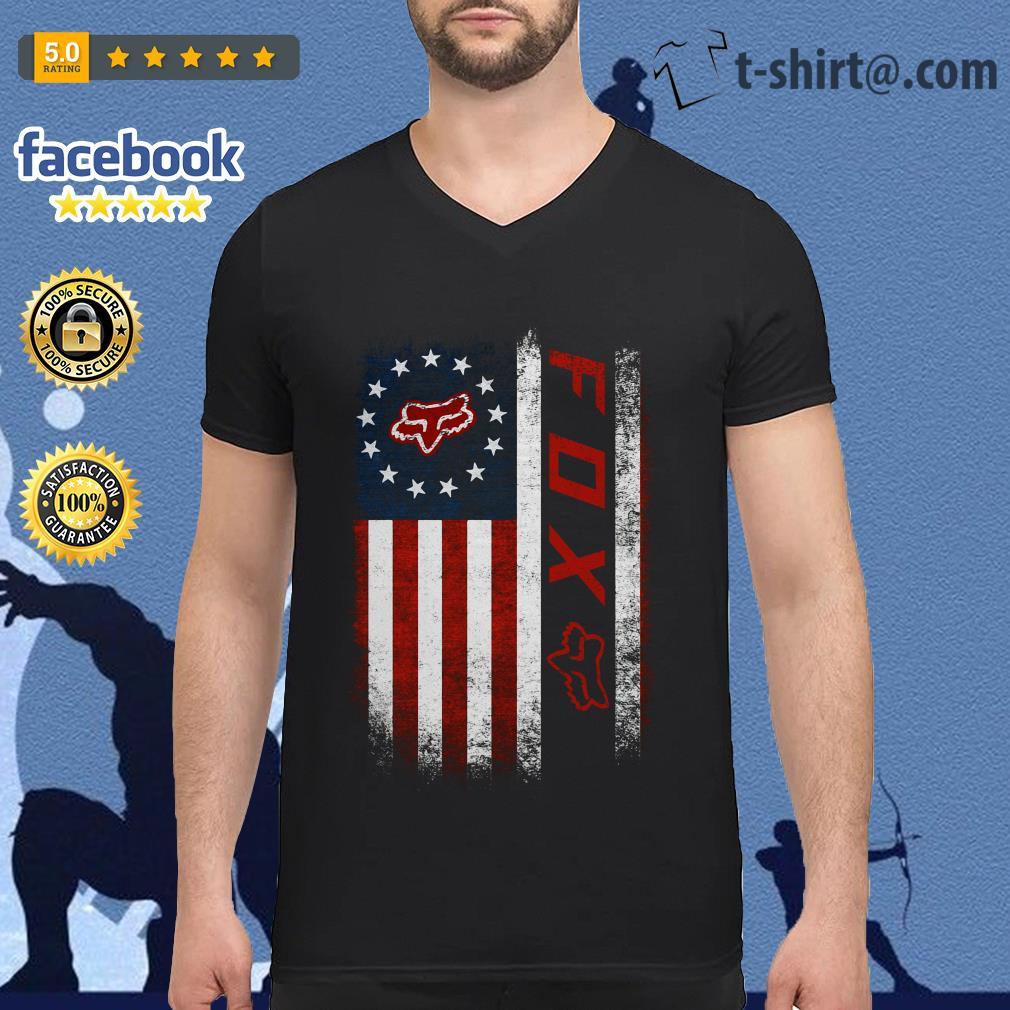 Veteran American flag Fox Racing V-neck T-sshirt