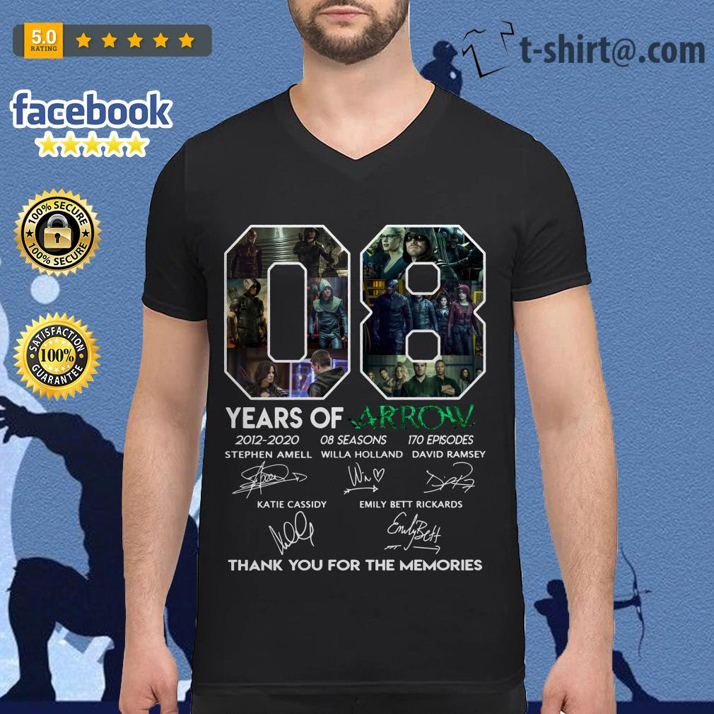 08 years of Arrow 2012-2020 08 seasons 170 episodes signatures V-neck T-shirt