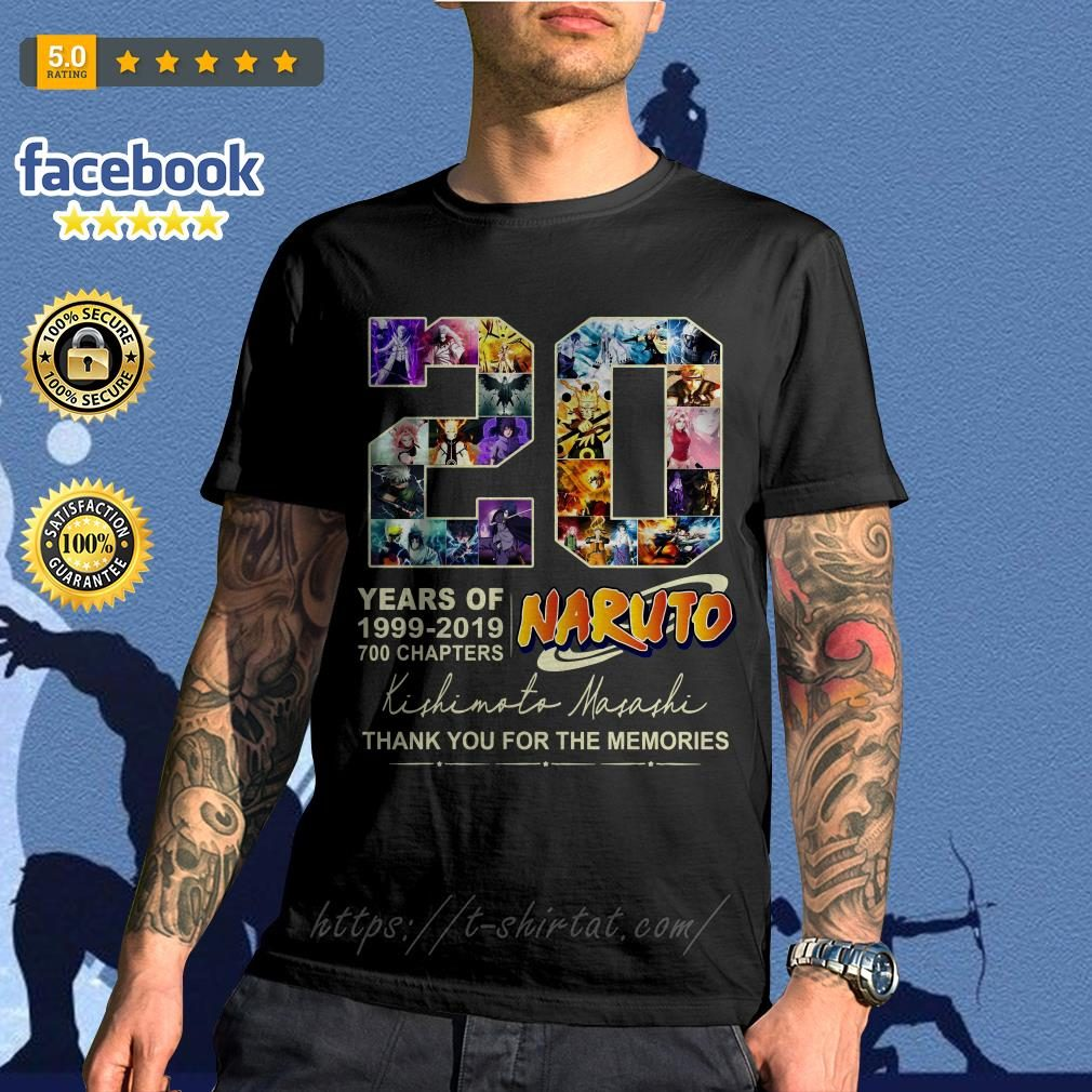 20 years of Naruto 1999-2019 700 chapters thank you for the memories shirt