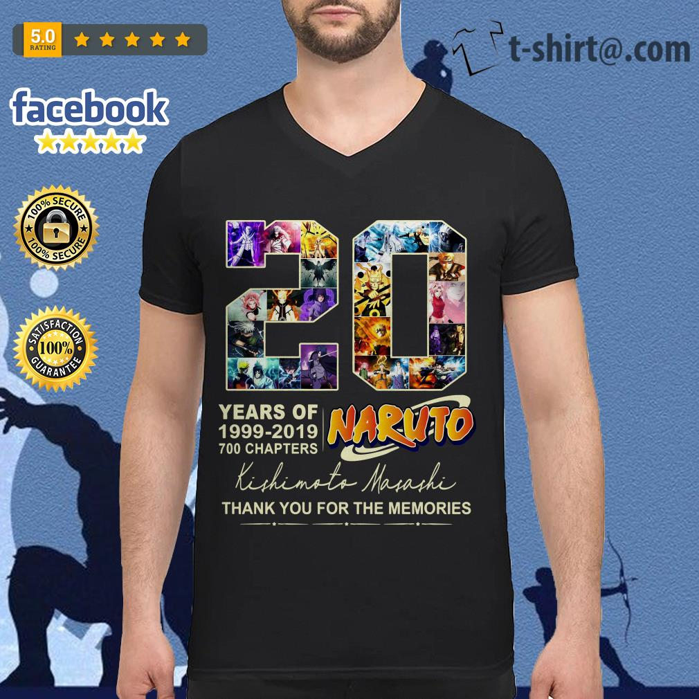 20 years of Naruto 1999-2019 700 chapters thank you for the memories V-neck T-shirt