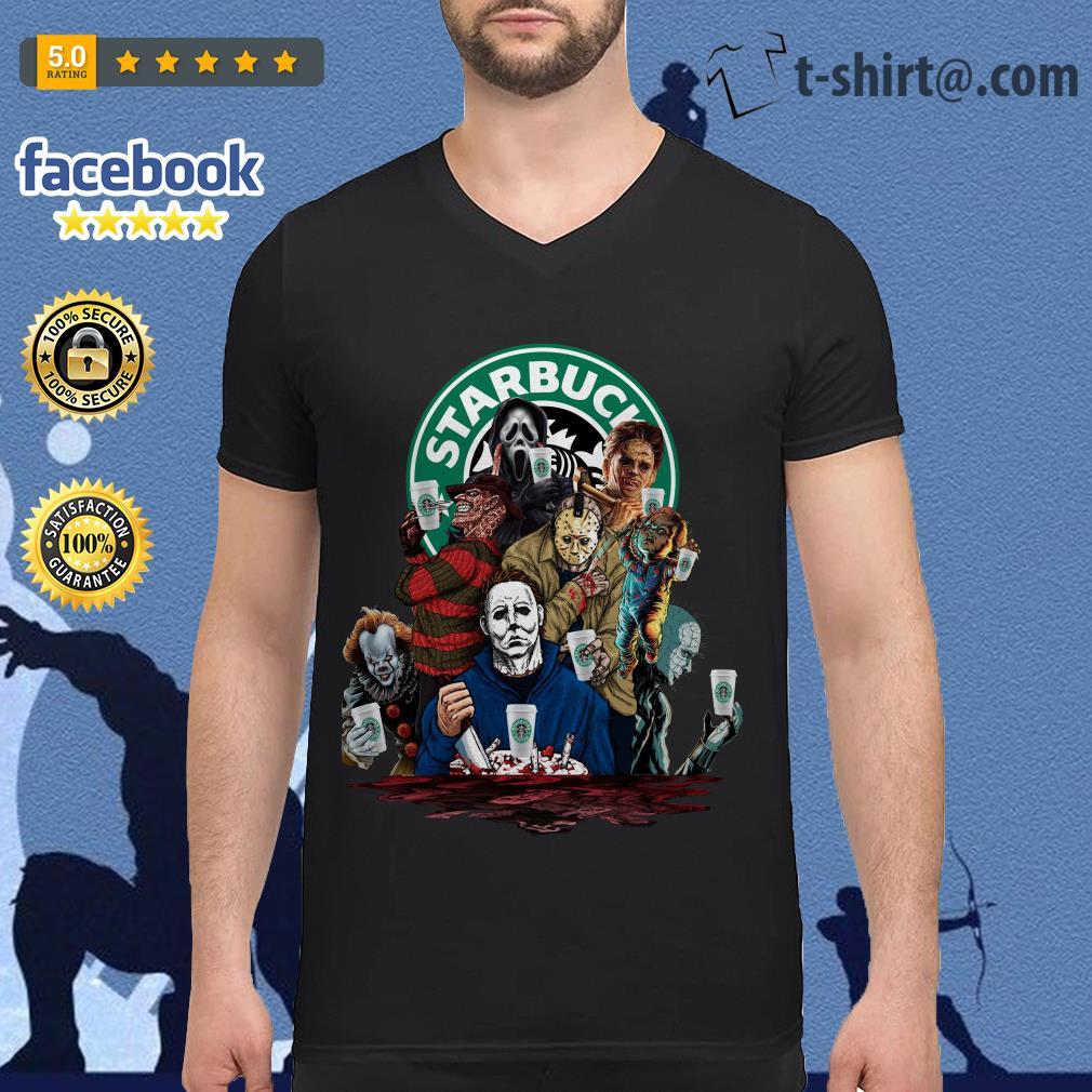 Horror characters Starbucks V-neck T-shirt