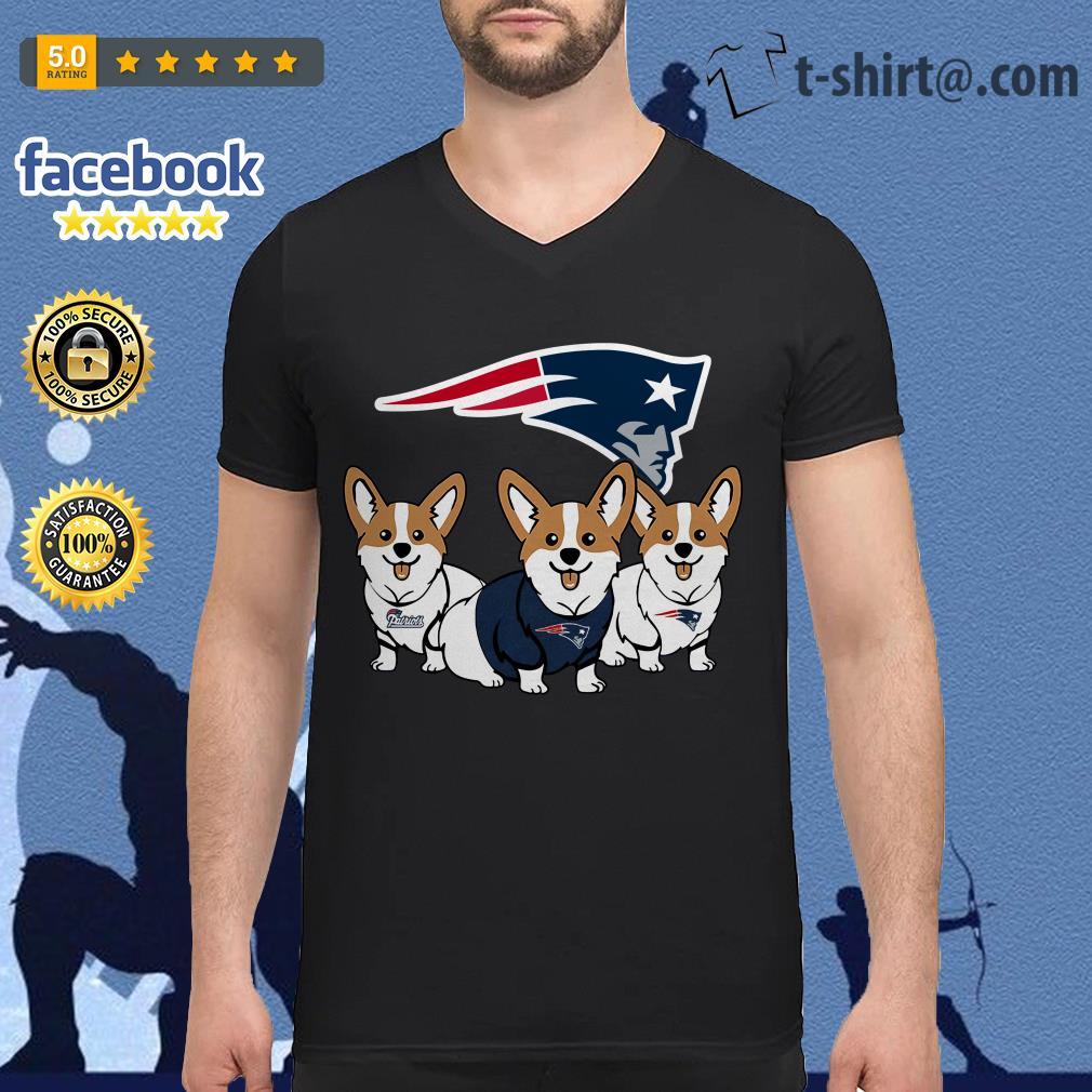 New England Patriots Corgi dog V-neck T-shirt