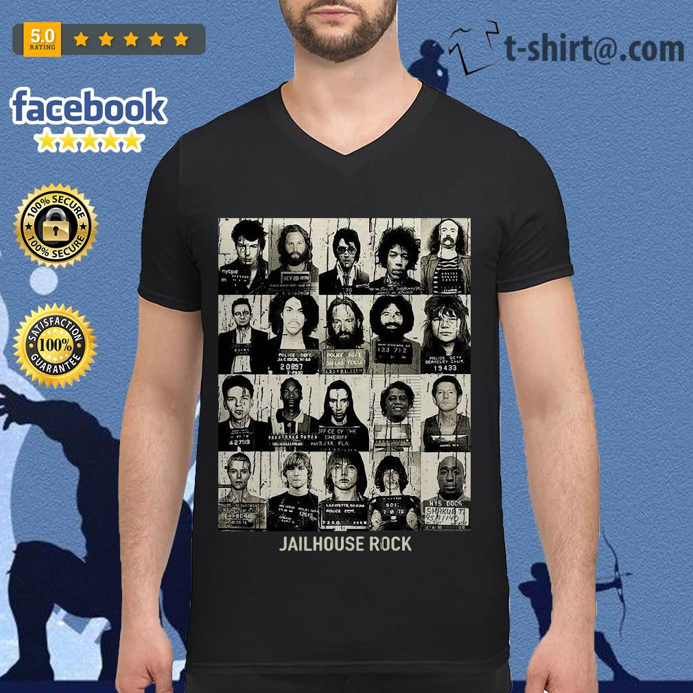 Rock music band jailhouse rock V-neck T-shirt