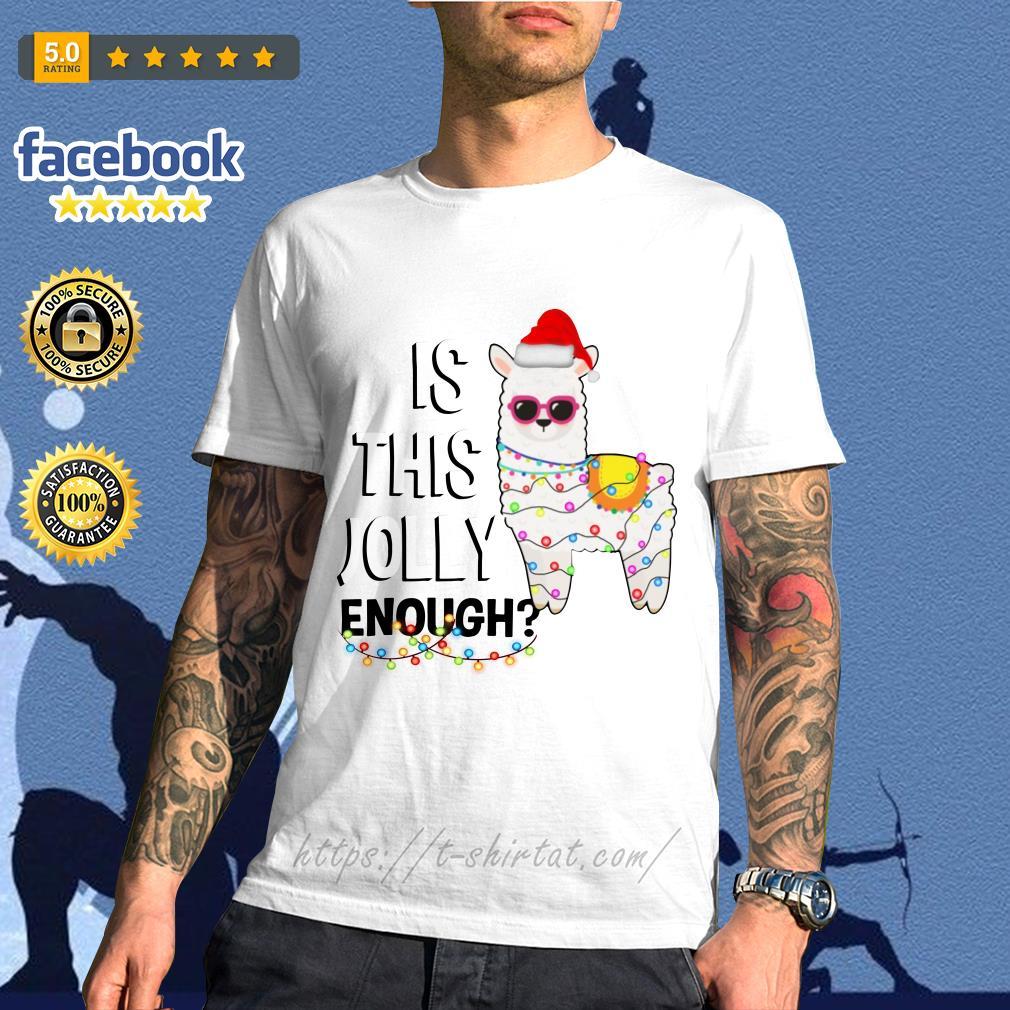 Llama Christmas Shirt.Llama Is This Jolly Enough Christmas Shirt