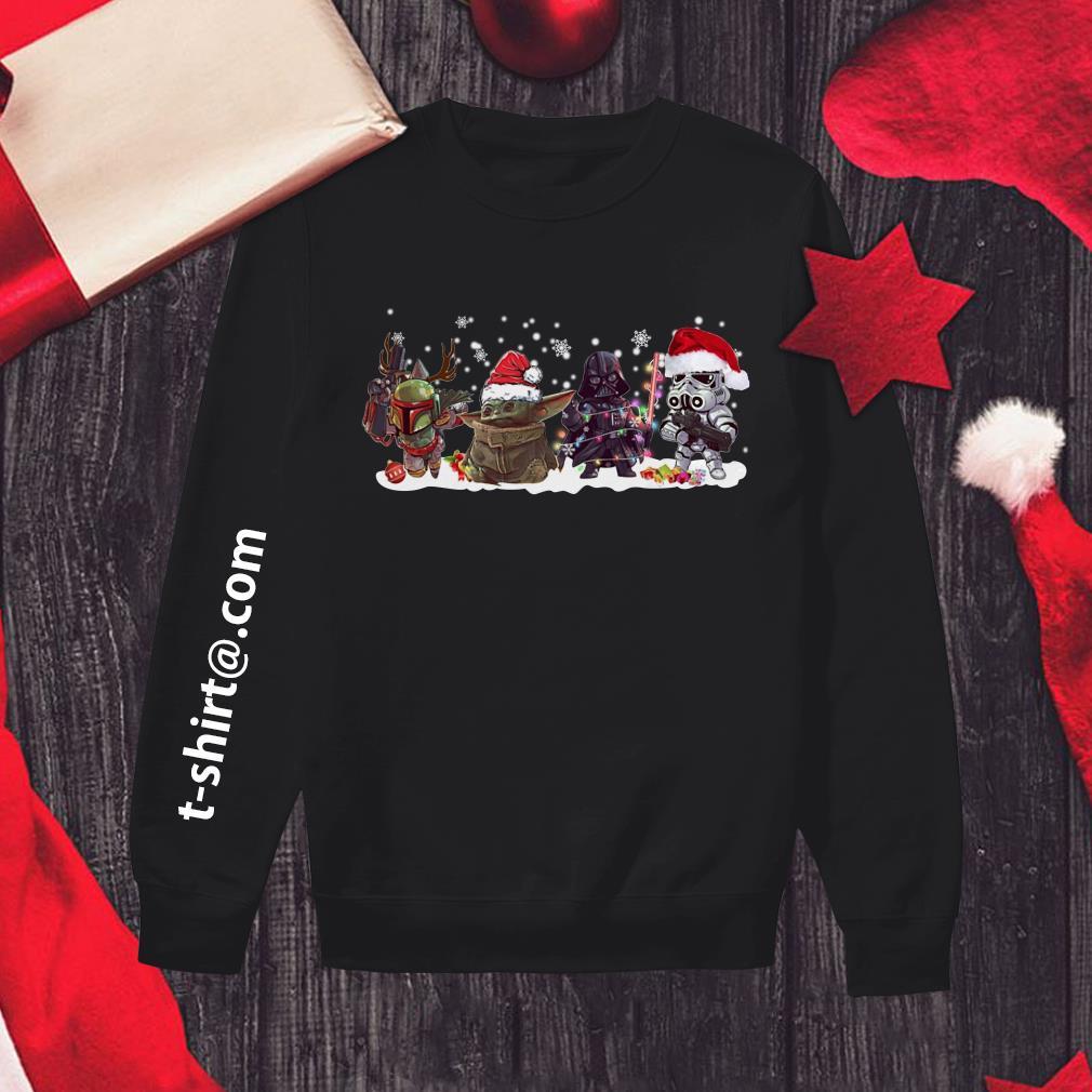 Boba Fett Baby Yoda Darth Vader and Stormtrooper Christmas Sweater